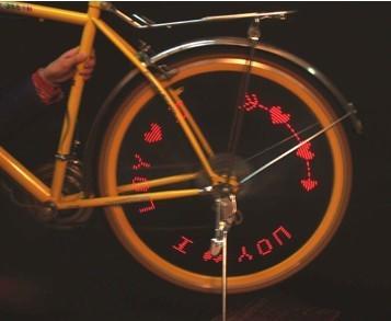 你的自行车不够炫吗 快装上这个吧,能在轮子上显示文字的转轮灯图片